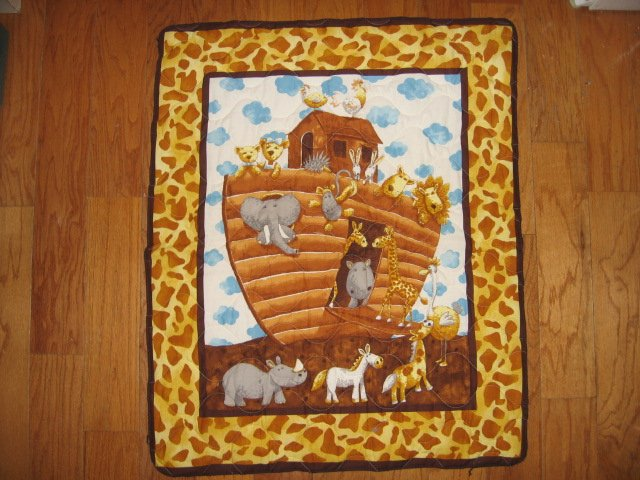 Noah's Ark Baby crib quilt 34 X 40 inches