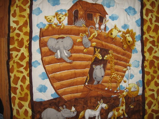 Image 1 of Noah's Ark Baby crib quilt double sided 34 X 40