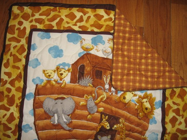 Image 2 of Noah's Ark Baby crib quilt double sided 34 X 40