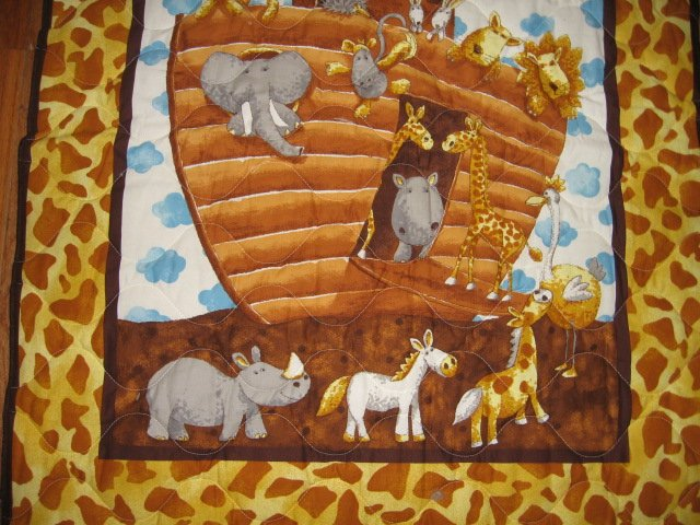 Image 3 of Noah's Ark Baby crib quilt double sided 34 X 40