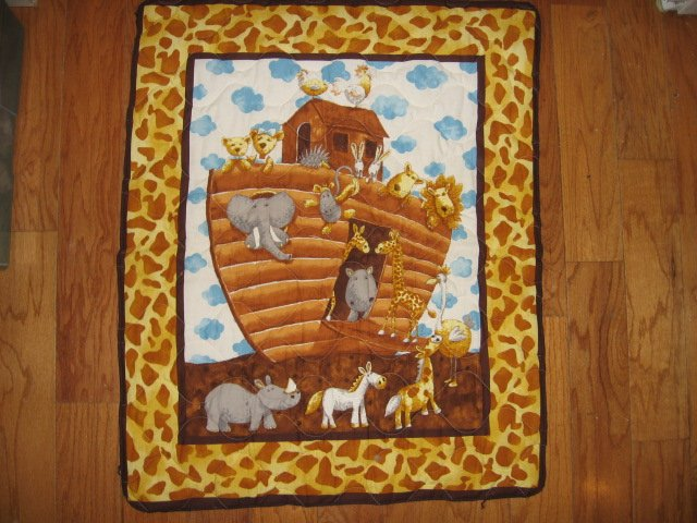 Image 4 of Noah's Ark Baby crib quilt double sided 34 X 40