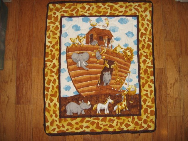 Image 5 of Noah's Ark Baby crib quilt double sided 34 X 40