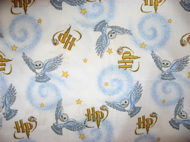 Harry Potter Quilt Glitter White Fabric Hedwig The Owl