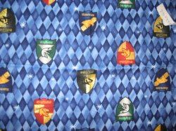 Thumbnail of Harry Potter glitter house shields cotton fabric 1/4 yard or fat quarter RARE