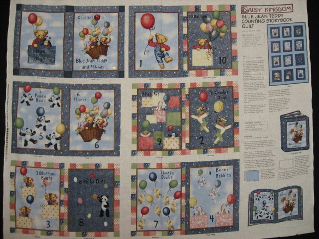Daisy Kingdom Blue Jean Teddy Bear Counting Fabric baby soft Book to sew /