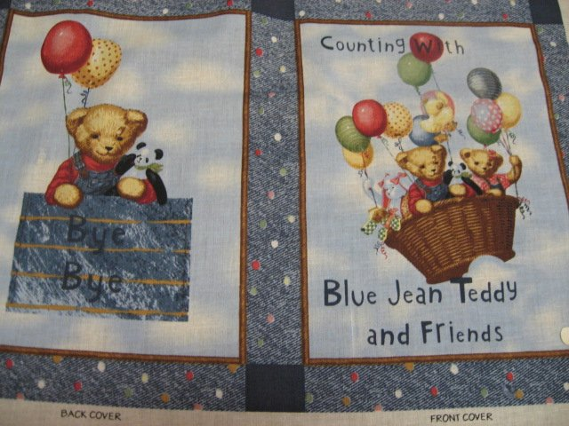 Image 1 of Daisy Kingdom Blue Jean Teddy Bear Counting Fabric baby soft Book to sew /