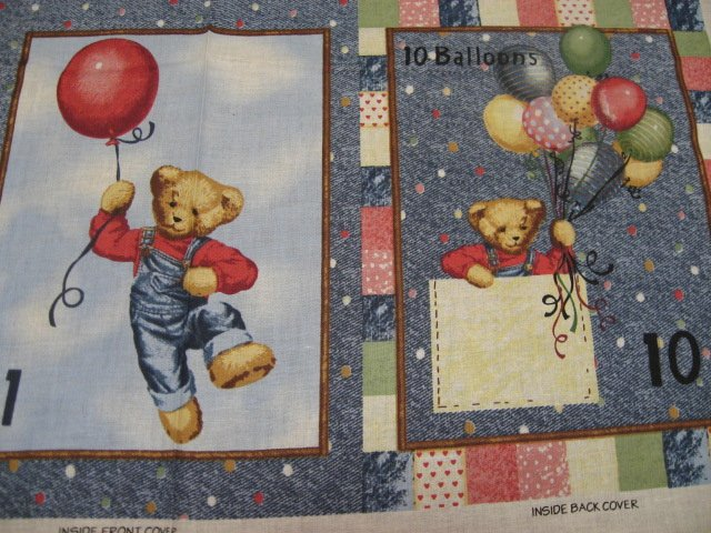 Image 2 of Daisy Kingdom Blue Jean Teddy Bear Counting Fabric baby soft Book to sew /