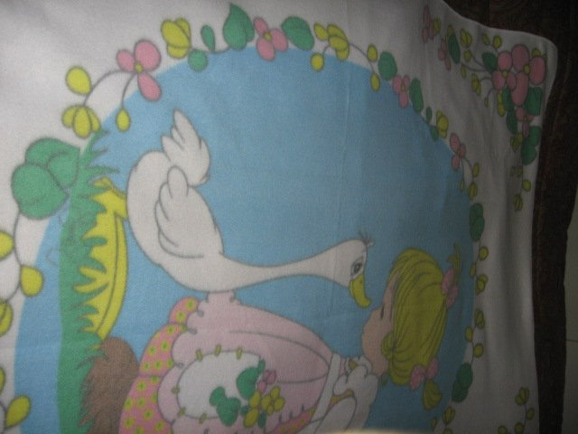 Image 1 of Precious Moments fleece blanket Goose Girl  Rare with finished serged edges