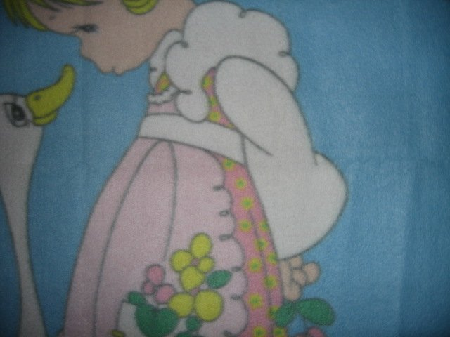 Image 4 of Precious Moments fleece blanket Goose Girl  Rare with finished serged edges