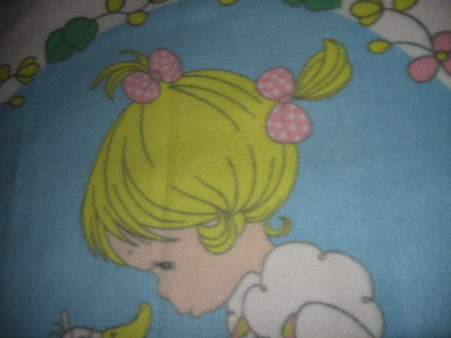 Image 5 of Precious Moments fleece blanket Goose Girl  Rare with finished serged edges