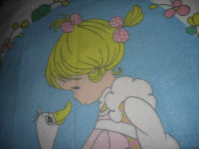 Image 6 of Precious Moments fleece blanket Goose Girl  Rare with finished serged edges