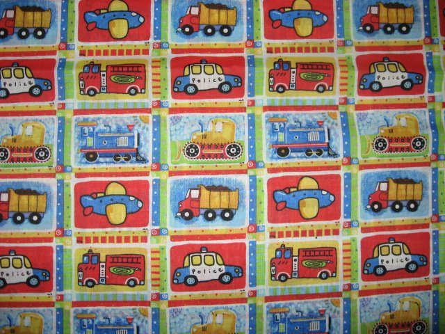 Train tractor airplane dump truck fire police cotton for Solar system fleece fabric