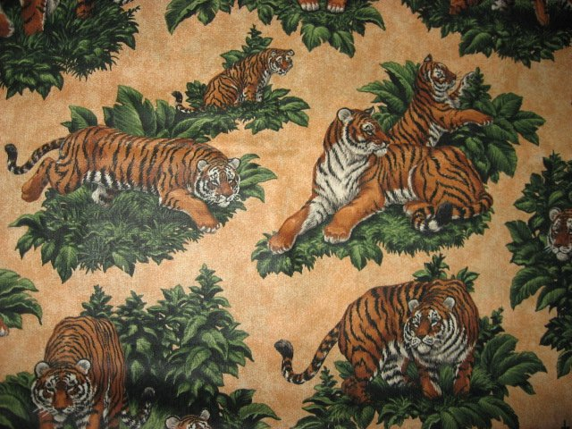 Tiger in the jungle cotton fabric by yard to sew