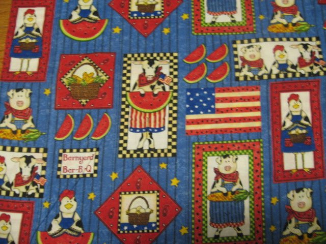 Image 0 of Patriotic Country Cow Rooster eggs pigs 4th of July Fabric by the yard