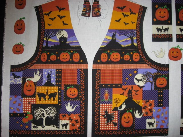 Image 1 of Halloween Adult vest fabric panel with ghost bat haunted house cat witch to sew