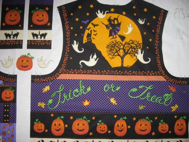 Image 0 of Halloween Adult vest fabric panel with ghost bat haunted house cat witch to sew