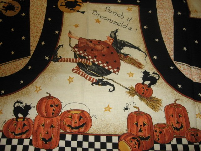 Daisy Kingdom Broomzelda Halloween Fall fabric vest Panel to sew