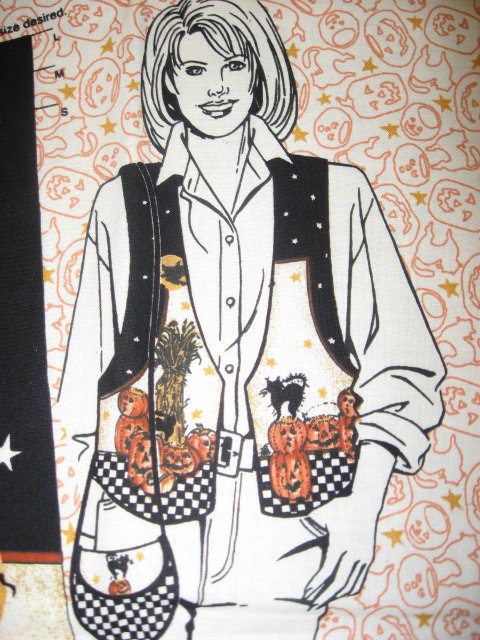 Image 1 of Daisy Kingdom Broomzelda Halloween Fall fabric vest Panel to sew