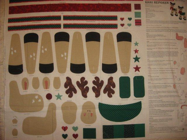 Image 1 of Daisy Kingdom Rikki Reindeer Doll Christmas fabric panel to sew and stuff
