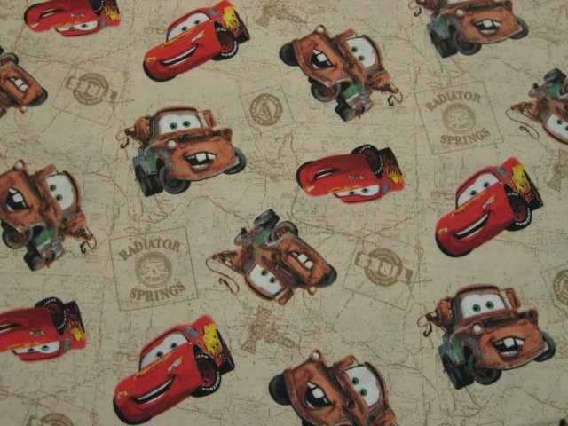Disney Pixar Cars Mater McQueen beige Quilt Fabric by the yard to sew