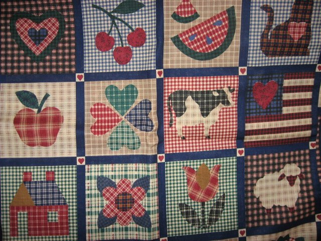 Country hearts bird cherry cow flag sheep flower 100% cotton fabric by the yard