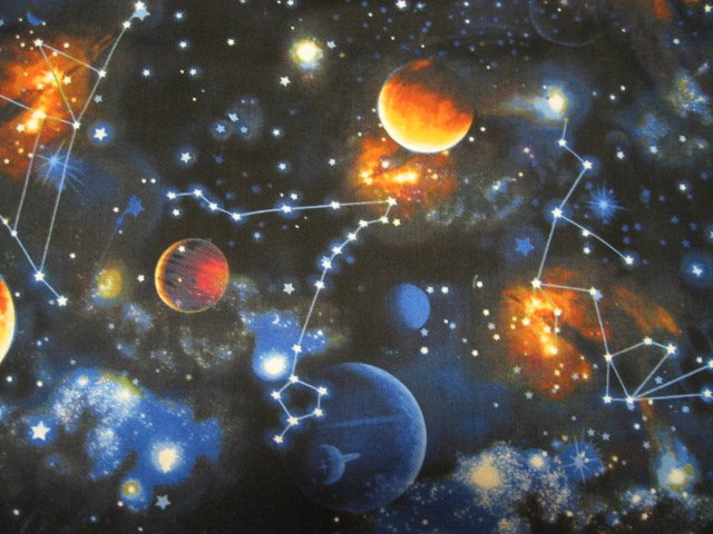 Universe planets stars constellations saturn realistic for Solar system fleece fabric