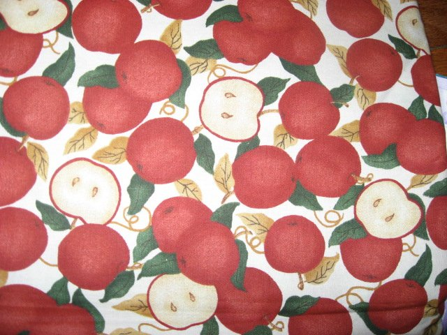 Country apples off white fabric piece 29 X 45 approximately