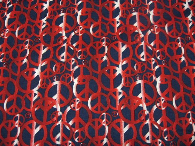 Peace Signs retro red and black cotton fabric to sew