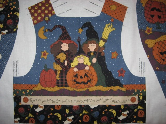 Image 1 of Halloween Witch Pumpkin Ladies vest fabric panel to sew