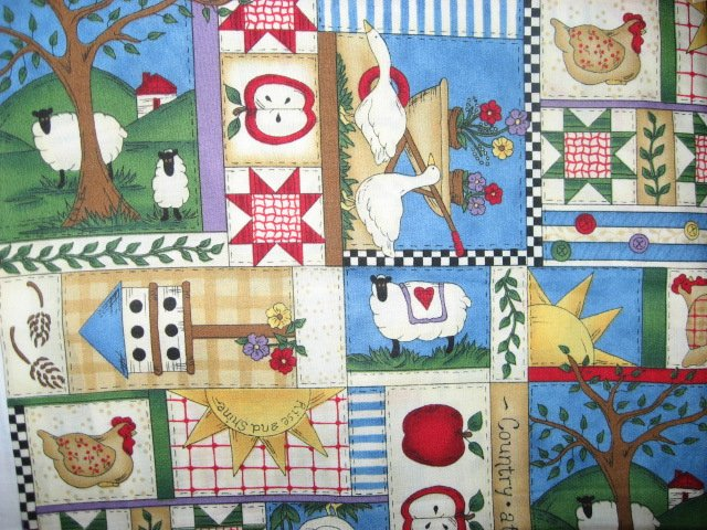 Country geese chicken apple sheep flower fabric yard by Leslie Beck