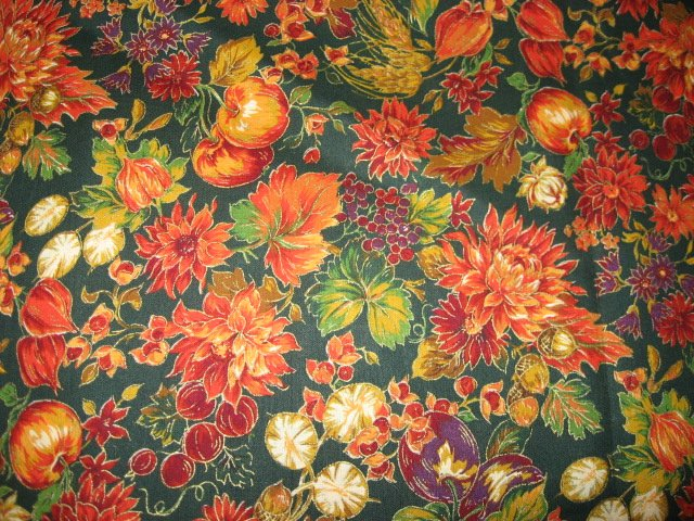Image 0 of Fall flowers berries nuts Joan Messmore fabric by the yard