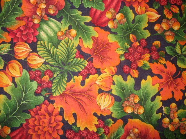 Image 0 of Fall flowers raspberries nuts acorns and squash 100% cotton fabric to sew