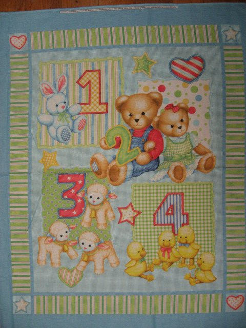 Image 0 of Teddy Bear blue jeans numbers Toys cotton Fabric Panel to Sew a quilt