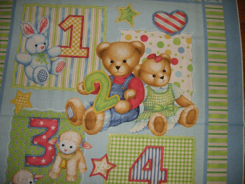 Image 1 of Teddy Bear blue jeans numbers Toys cotton Fabric Panel to Sew a quilt