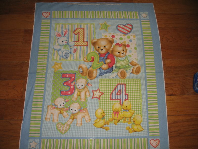 Image 2 of Teddy Bear blue jeans numbers Toys cotton Fabric Panel to Sew a quilt