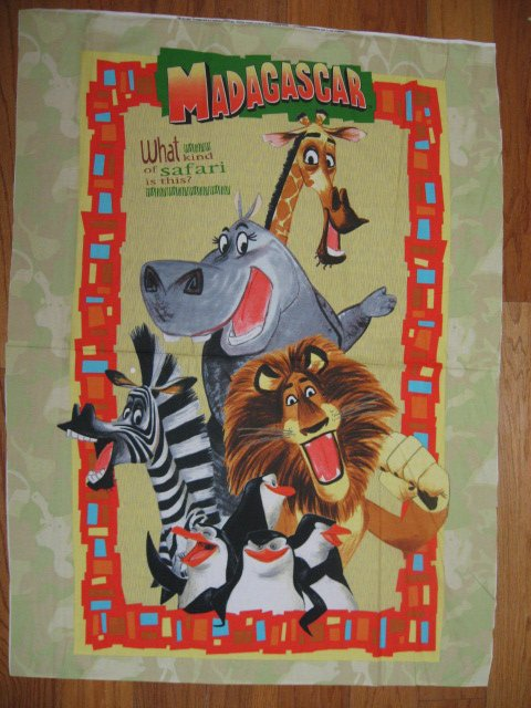 Madagascar Lion Fabric wall crib quilt throw panel to sew