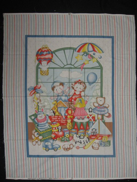 Image 1 of Children Toy Store Monkey teddy bears cars and Doll Fabric Panel to Sew