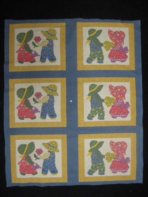 Image 0 of Sun bonnet girl boy cotton Fabric wall crib quilt panel to Sew