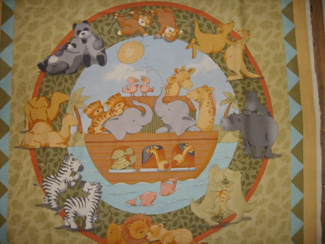 Noah's Ark Baby Bedding Pillow Panel and wall quilt panel to sew