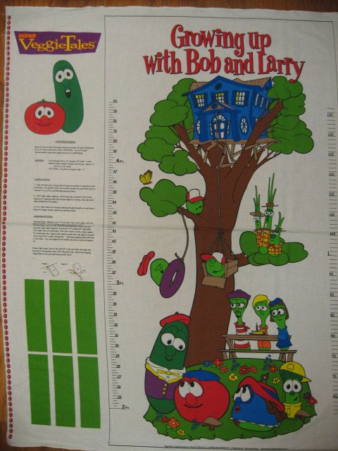 Image 0 of Veggie Tales child Growth Chart fabric panel to sew /