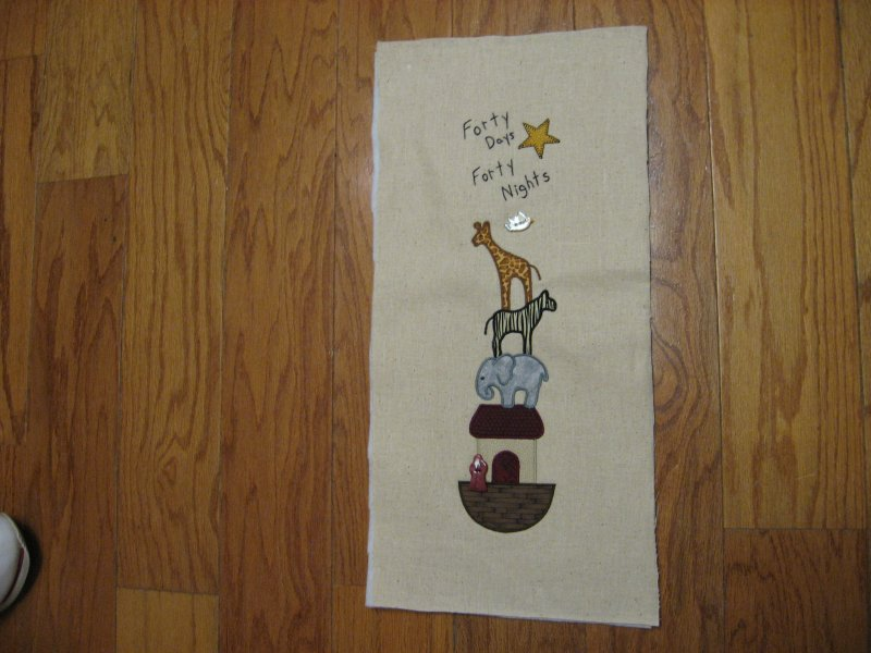Image 0 of Noah's Ark embroidered appliqued exquisite handmade Panel you bind the edges