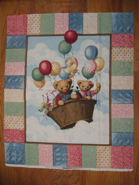 Blue Jean Teddy Bear Balloons Throw Fabric Panel to sew for boy or girl