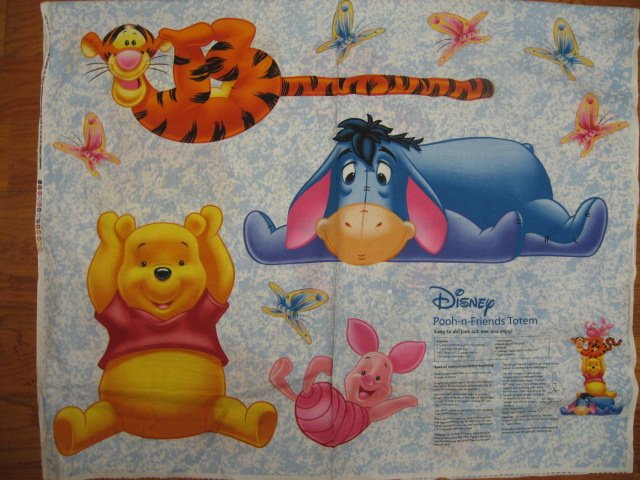 Image 0 of Winnie the Pooh Eeyore Piglet Tigger 100% cotton Fabric Totem pole Panel to sew