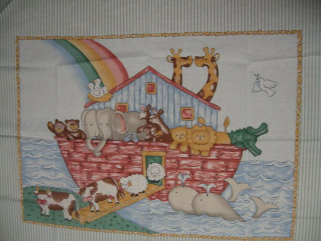 Noah's Ark animals Pastel Fabric Baby crib quilt Panel throw to Sew