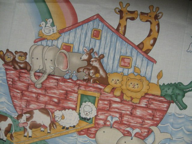 Image 1 of Noah's Ark animals Pastel Fabric Baby crib quilt Panel throw to Sew