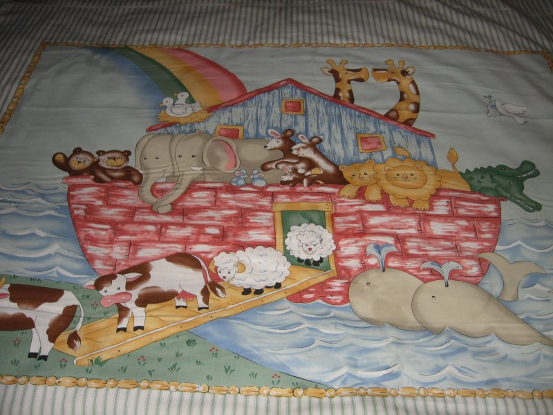 Image 2 of Noah's Ark animals Pastel Fabric Baby crib quilt Panel throw to Sew