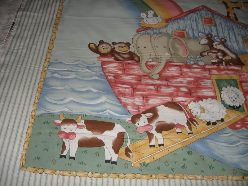 Image 3 of Noah's Ark animals Pastel Fabric Baby crib quilt Panel throw to Sew