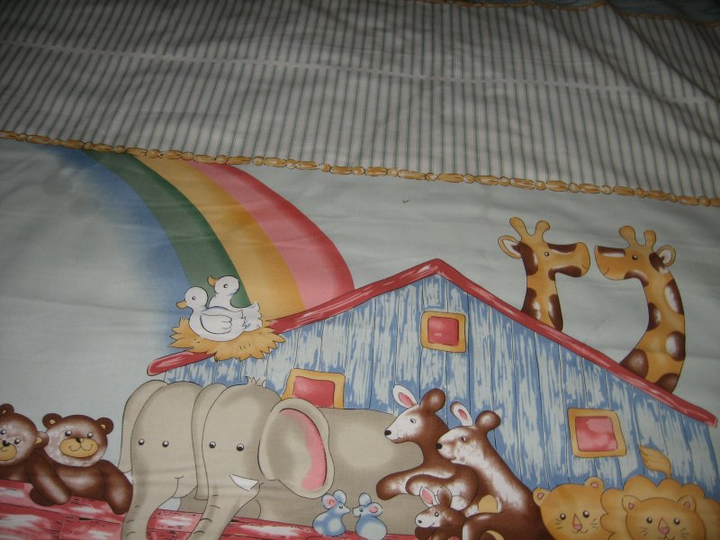 Image 5 of Noah's Ark animals Pastel Fabric Baby crib quilt Panel throw to Sew