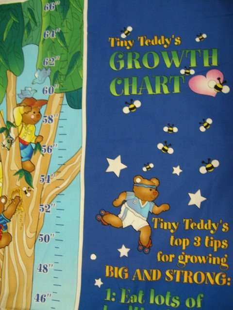 Image 0 of Tiny Teddy's Growth Chart Fabric wall panel to sew /