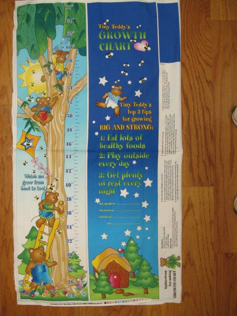 Image 1 of Tiny Teddy's Growth Chart Fabric wall panel to sew /